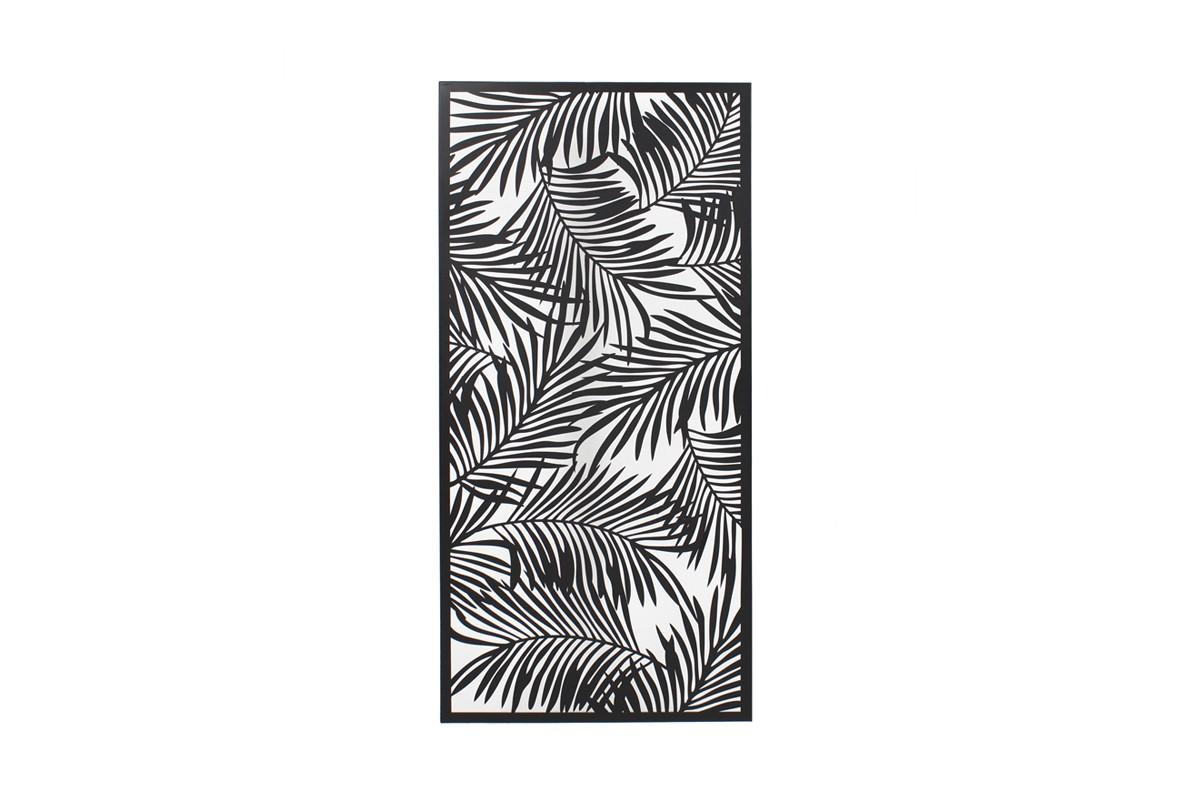 Tableau Feuilles palmier métal noir